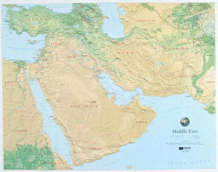 Middle East Wall Maps | Metro Map | Bus Routes | Metrobus Way Map ... Middle East Wall Maps
